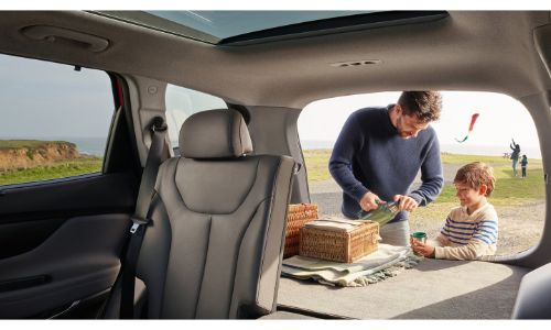 2020 Hyundai Santa Fe interior view from front showing seat folded down