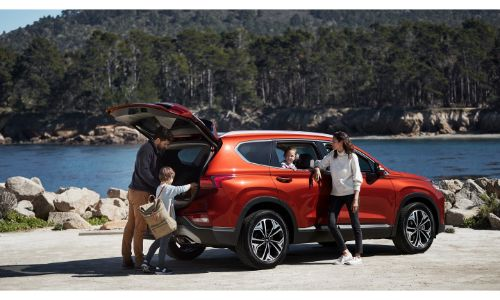 2020 Hyundai Santa Fe parked on the side of a lake with family and trunk open