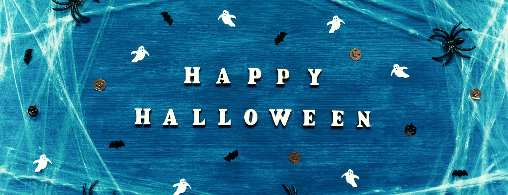 halloween banner blue with ghosts bats and spiders