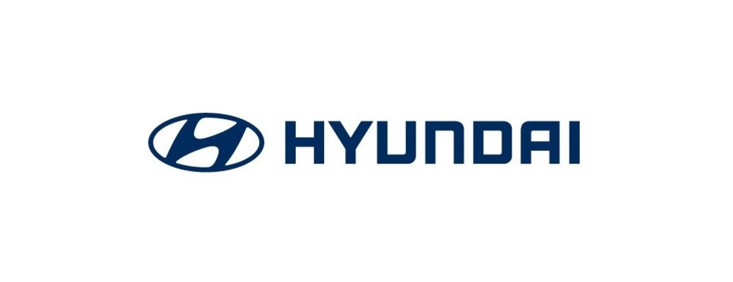 dark blue hyundai logo on white background