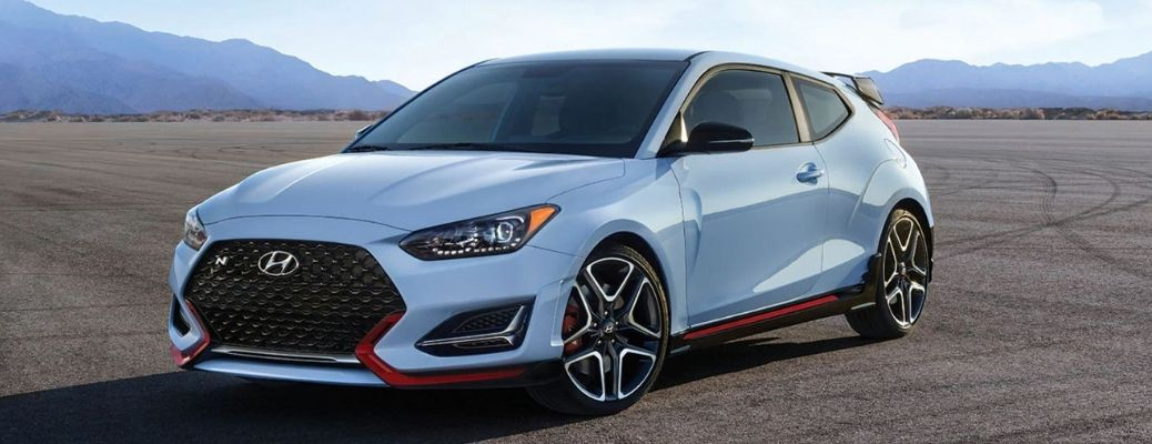2021 Hyundai Veloster Blue Front and Side View