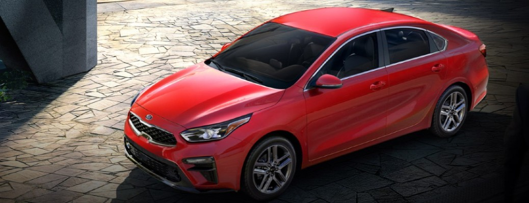2020 Kia Forte red paint shot from above showing top, front, and driver side