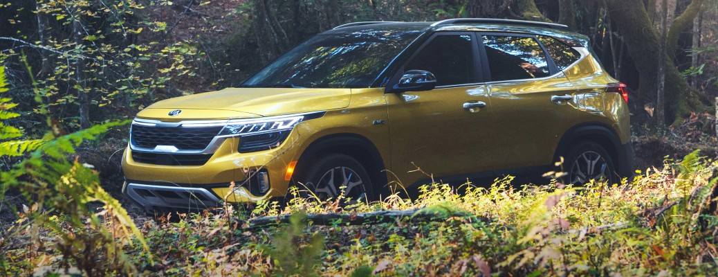 2021 Kia Seltos yellow driving through forest with foreground plants