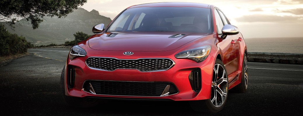 2021 Kia Stinger red on curved road