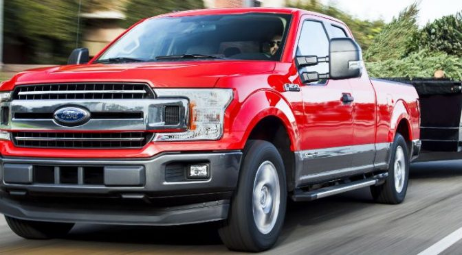front view of a red Ford truck