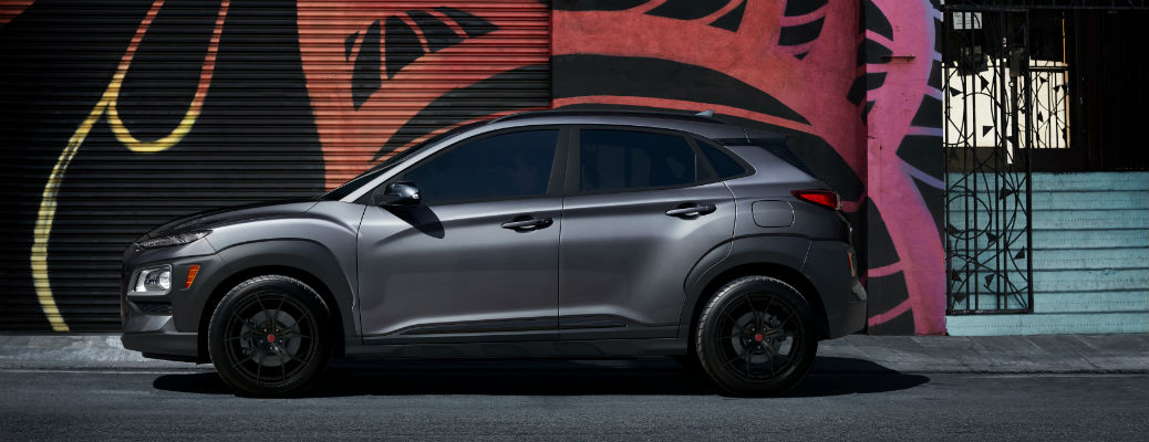 Side view of grey 2021 Hyundai Kona