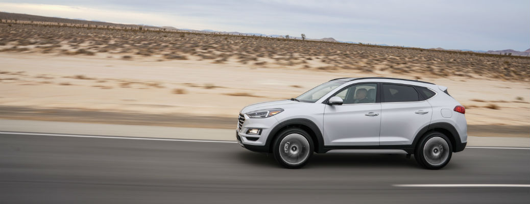 Side view of gray 2021 Hyundai Tucson