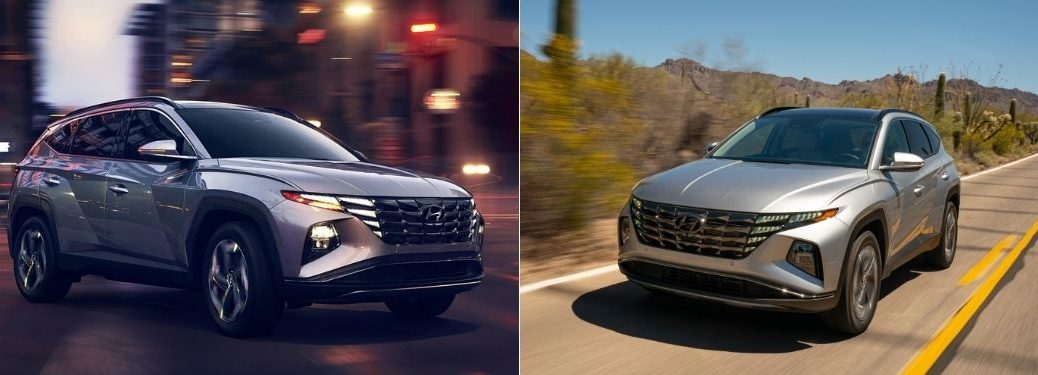 Silver 2022 Hyundai Tucson Front on City Street at Night vs Gray 2022 Hyundai Tucson Hybrid Front on Desert Road