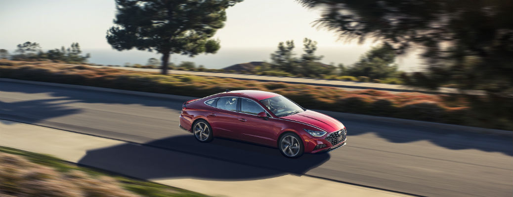 Overhead view of red 2021 Hyundai Sonata driving