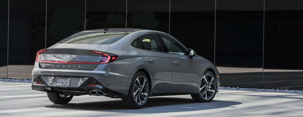 Rear view of gray 2021 Hyundai Sonata
