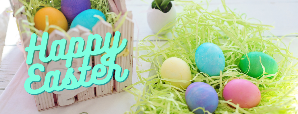"""Colorful eggs with blue """"Happy Easter"""" text"""