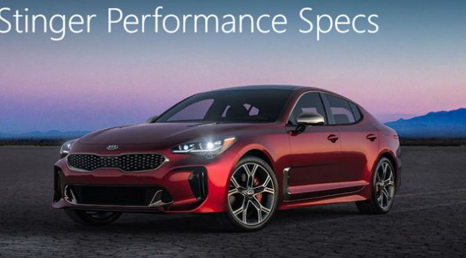 2018 Kia Stinger Performance Specs with image of a Stinger parked in the desert at dusk