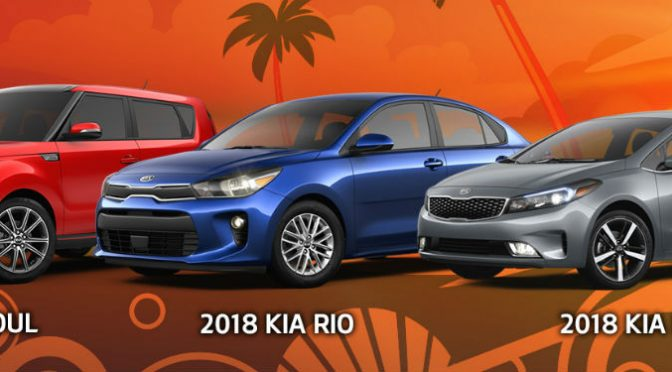 2018 Kia Rio Soul and Forte models orange background with palm trees