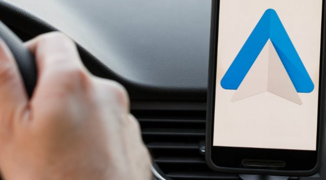 android phone at front of car