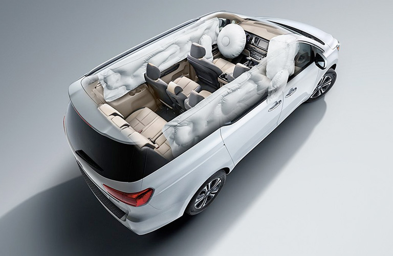 Kia Sedona with airbags deployed from exterior top