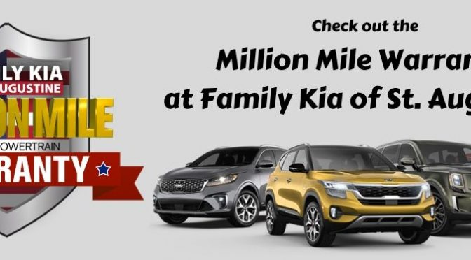 CHECK OUT THE MILLION MILE WARRANTY AT FAMILY KIA OF ST. AUGUSTINE text with Million Mile Warranty icon and 2020 Kia models