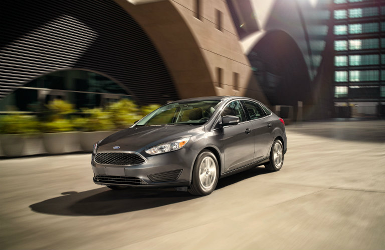 The side view of a gray 2017 Ford Focus.