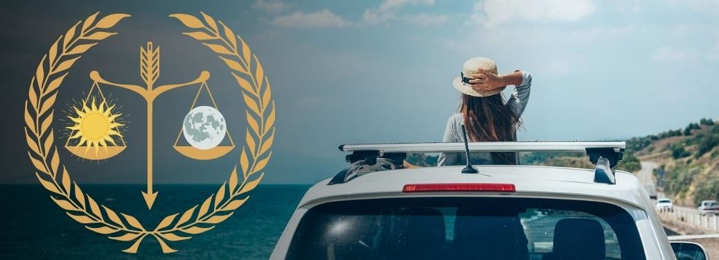 woman with her torso through vehicle sunroof with vector of scale balancing moon and sun