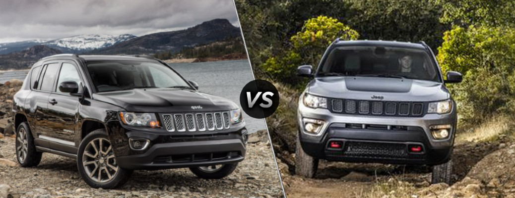 A dark gray 2016 Jeep Compass compared to a gray 2018 Jeep Compass.
