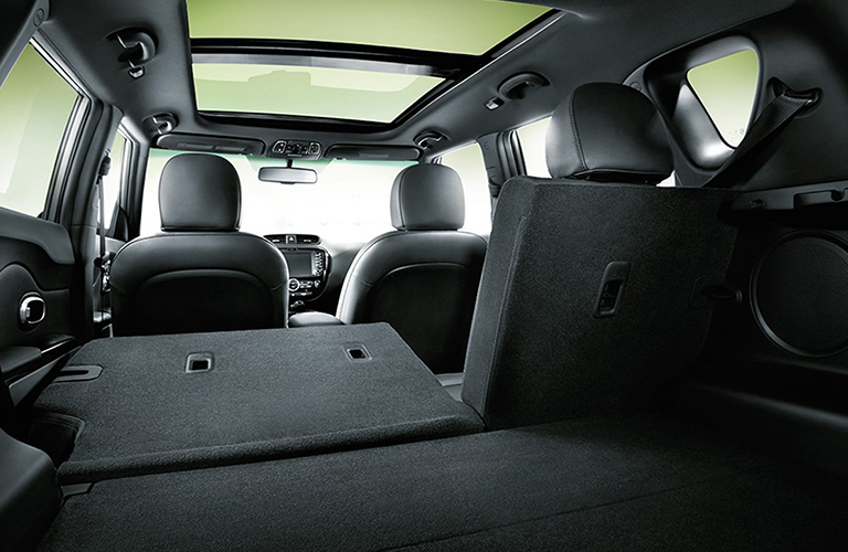 The rear interior view of the cargo space available in the 2018 Kia Soul.