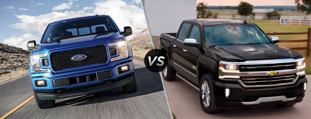 A blue 2018 Ford F-150 compared to a black 2018 Chevrolet Silverado.