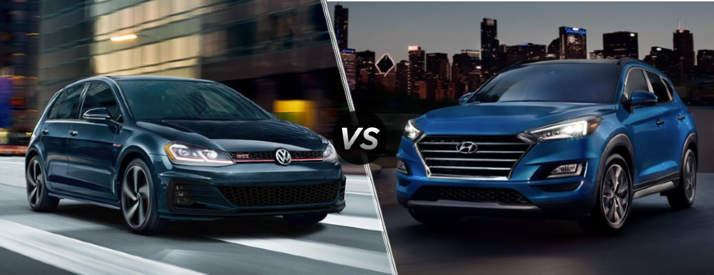 A dark blue 2020 Volkswagen Golf GTI compared to a blue 2020 Hyundai Tucson.
