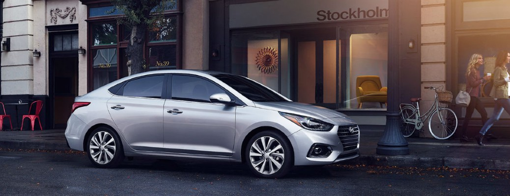 The side view of a gray 2018 Hyundai Accent.