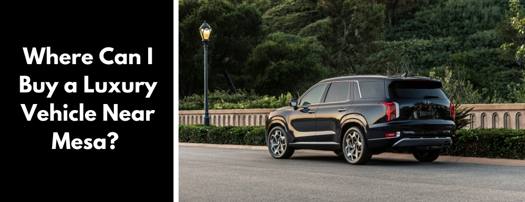 """Black 2021 Hyundai Palisade next to """"Where Can I Buy a Luxury Vehicle Near Mesa?"""" white text over black square"""