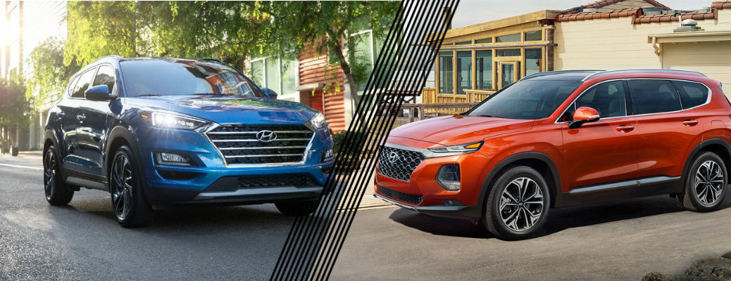 Blue 2021 Hyundai Tucson and red 2020 Hyundai Santa Fe