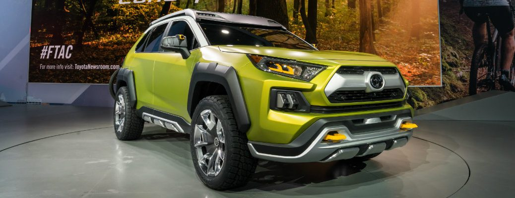 Green Toyota FT-AC model on display at Los Angeles Auto Show