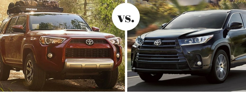 Toyota 4Runner and Toyota Highlander models positioned next to each other in comparison shot