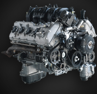 Isolated view of 2018 Toyota Tundra 5.7-liter V8 engine