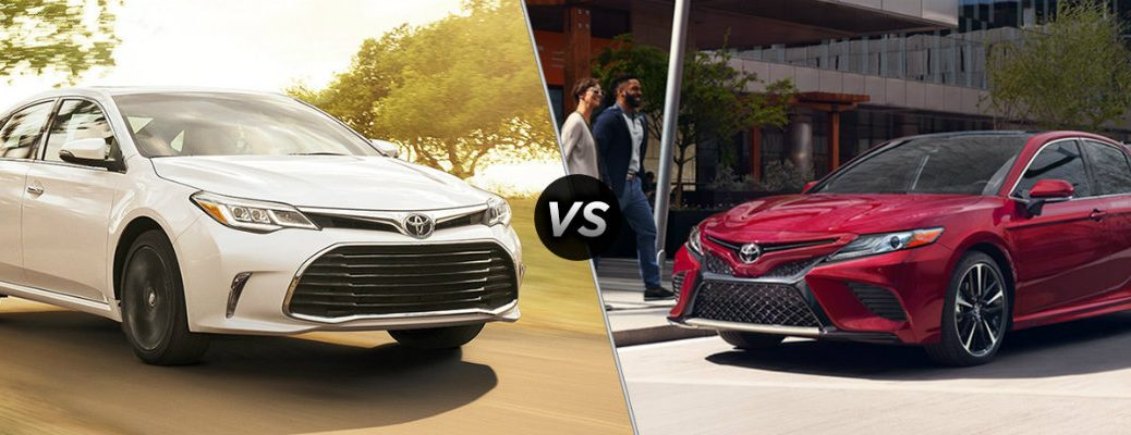 2018 Toyota Avalon and 2018 Toyota Camry facing each other in comparison image