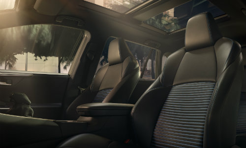 Front two seats and center console of 2019 Toyota RAV4
