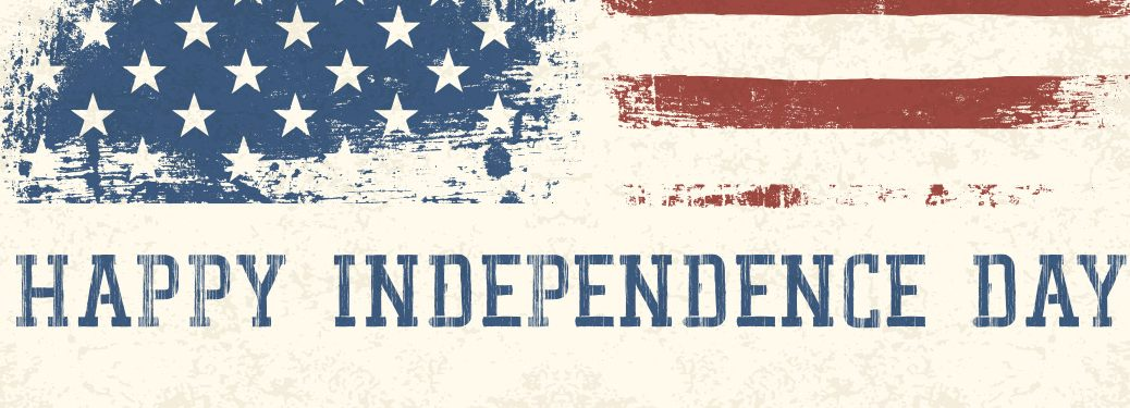 """Faded American flag banner with """"Happy Independence Day"""" written"""