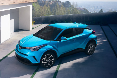 2019 Toyota C-HR parked at the top level of a parking complex