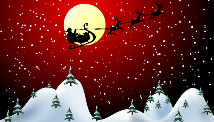 Painting of Santa's sleigh flying in the night sky over snowy mountains