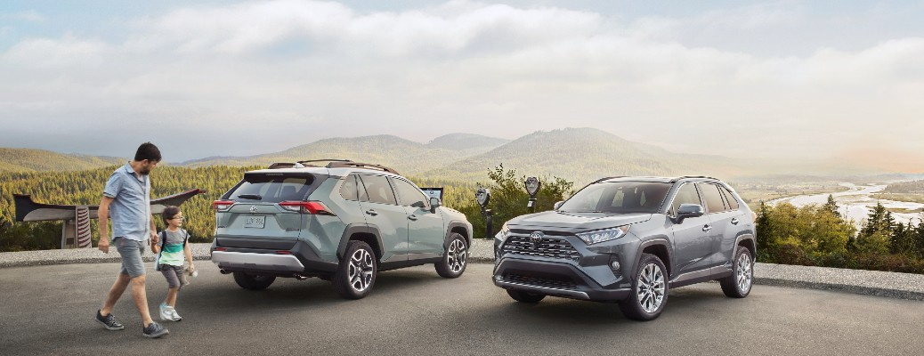 two 2021 Toyota RAV4 models parked next to each other