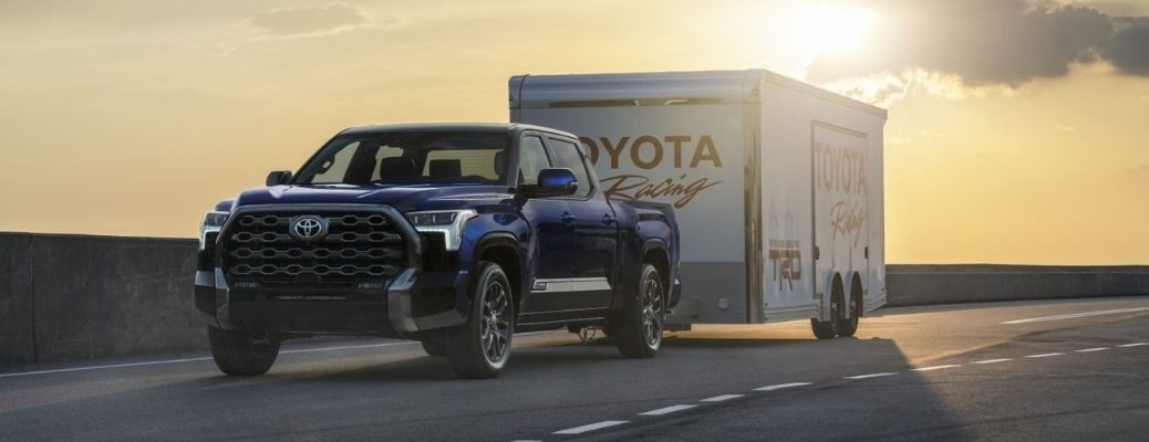 2022 Toyota Tundra towing a Toyota trailer