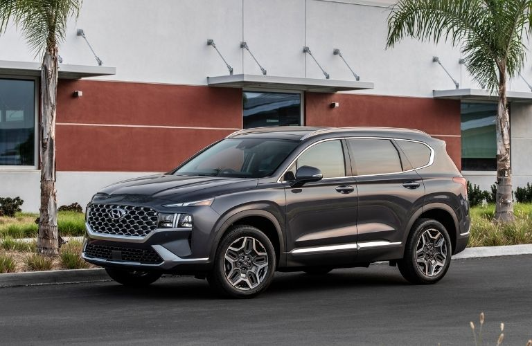 2022 Hyundai Santa Fe parked in front of a house