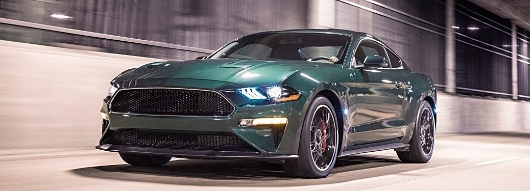 2019 Mustang Bullitt green front side view