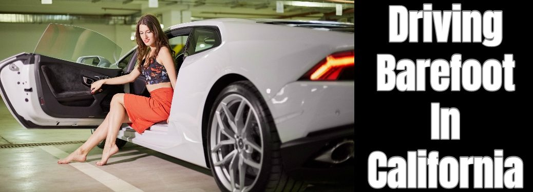woman getting out of an exotic car barefoot