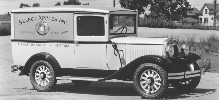 1932 Dodge delivery truck black and white