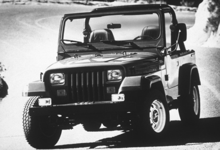 Jeep Wrangler YJ black and white front view