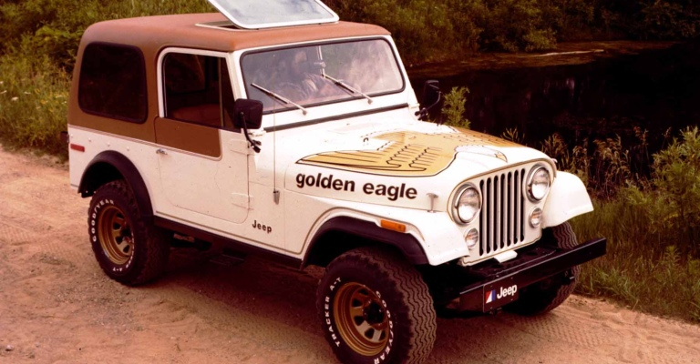 Willys CJ-7 Golden Eagle white side view