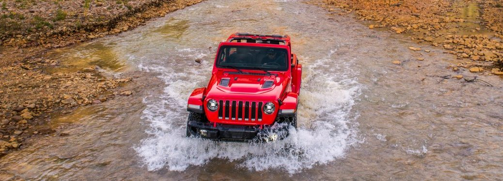 2019 Jeep Wrangler red front view in water