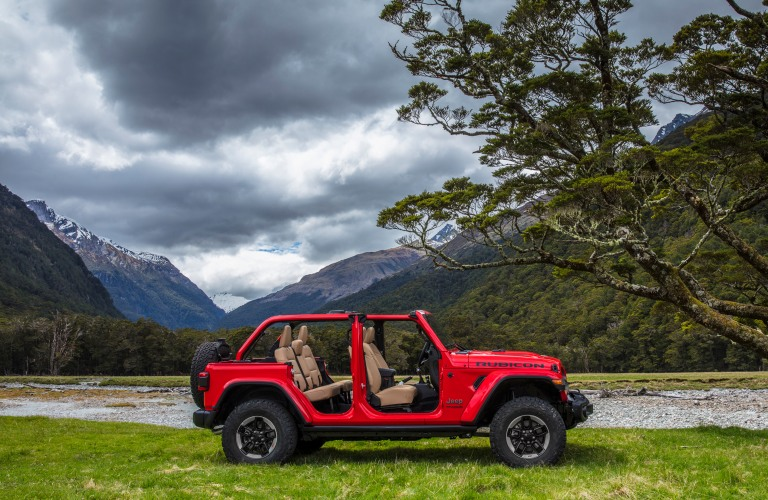 2019 Jeep Wrangler red side view top down and doors off