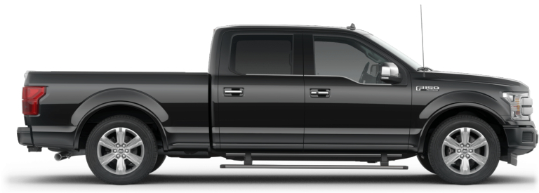 2019 Ford F-150 with a SuperCrew black side view