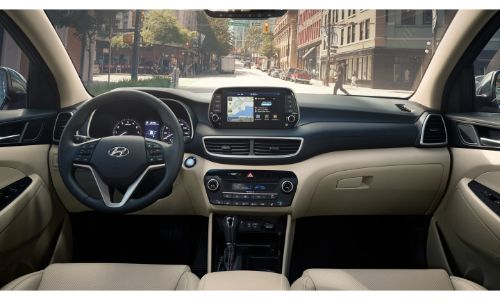 2020 Hyundai Tucson interior wide view of front of cabin