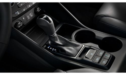 2020 Hyundai Tucson Interior close up of shifter and cupholders
